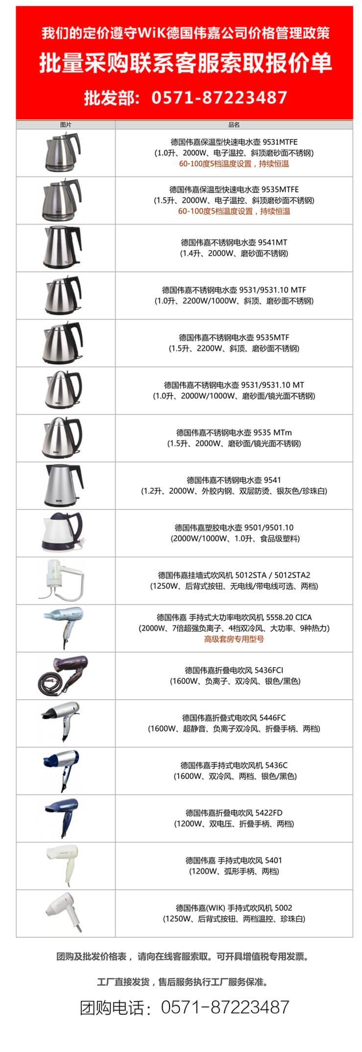【德国伟嘉报价单】wik伟嘉系列酒店专用小电器|wik电热水壶|wik电吹风机价格表